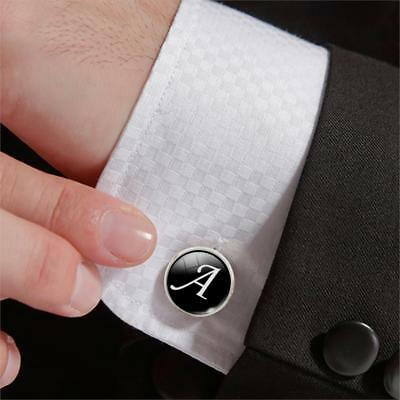 Black Alphabet Cufflink Cuff Link Wedding Formal Business Mens Initial Letter