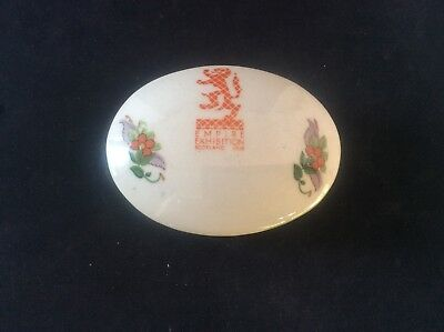 Glasgow Scottish 1938 Empire Exhibition WH GOSS Trinket Bowl Dish +lid Floral 15