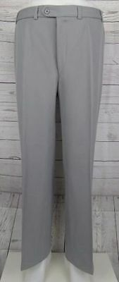 Vintage 1970s Grey Slim Fit Straight Leg Wool Blend Trousers W34 L31 CX26