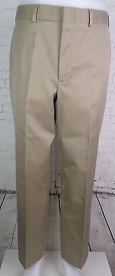 Vintage Khaki Tapered Flat Front Preppy Soft Cotton Chino Trousers W33 DW04