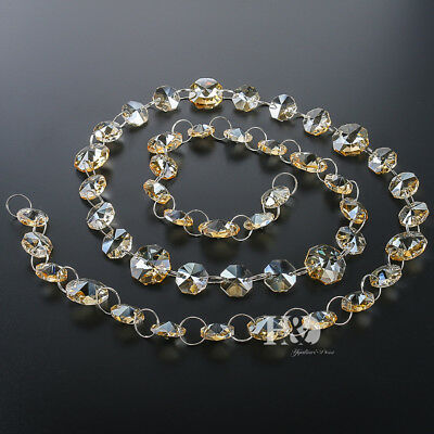 3FT Champagne Crystal Octagon Beads Chain Chandelier Prism Parts Home Decor 14mm
