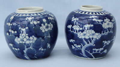 Pair of Antique Chinese Blue & White Prunus Porcelain Ginger Jars