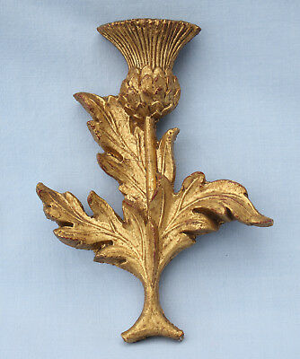 Unusual Old Carved & Gilt Wooden Scottish Thistle