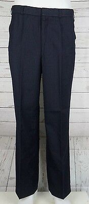 Vtg Mens Smart Blue Pinstripe Straight Leg Wool Blend Trousers W33 L28.5 DE22