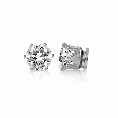 Boys Round Crystal Magnetic Stud Earrings Magnet Clip On  Non Pierced Earrings