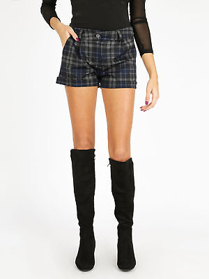 Short hot pence a quadri invernali Donna shorts pantaloncini