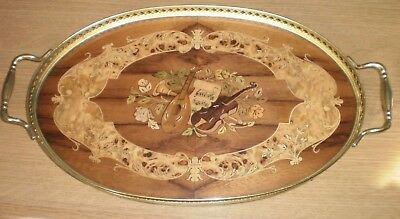Vintage - Italian Sorrento Inlaid Wood Oval Double Handled Gallery Tray