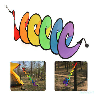 Folding Colorful Wind Spinner Rainbow Spiral Windmill Camp Tent Yard Decor he17