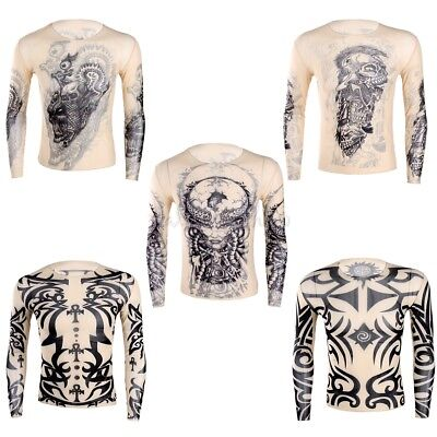 Fashion Men's Slim Fit Tattoo Long Sleeve Muscle Tee T-shirt Casual Tops Blouse