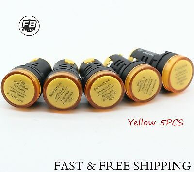 24V LED Indicator Pilot Signal Light Lamp 5 PCS Yellow LED USA Shipping