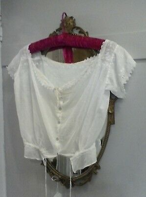 EDWARDIAN 1800s DELICATE LAWN COTTON EMBROIDERED CORSET OVERSLIP/BODICE