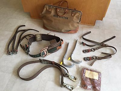 Vintage Bell Systems Lineman Bag + Pole/Tree Climbing Belt Harness Gaffs Pads