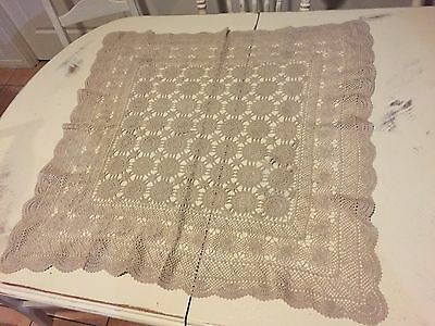 Vintage Collectable Shabby Chic Crochet Tablecloth
