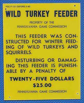 "Pa Pennsylvania Game Commission 1980 Fiberglass 8"" x 10"" Wild Turkey Feeder Sign"