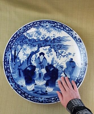 c.1880 Meiji large Japanese Arita porcelain blue & white charger. Immortals