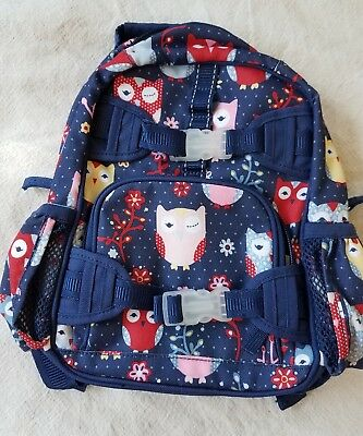 Pottery barn kids toddler backpack, girls mini backpack, navy blue with owls