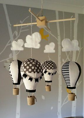 Baby mobile for childs nursery - Hot Air Balloons in Black Grey White