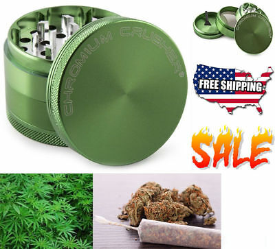 Tobacco Crusher Spice Herb Grinder 2.0 Inch 4 Piece Chromium Crusher Green