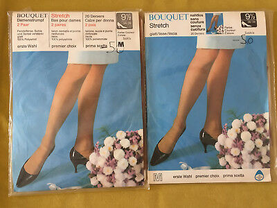 50er 60er Nylons Strümpfe Bouquet 20 Den Vintage 50s 60s Stockings Gr.2