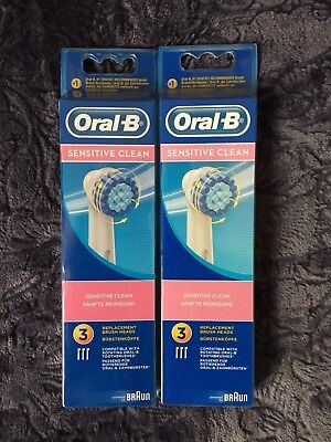Oral-B SENSITIVE CLEAN Lot 2x3 / 6 Brossettes de Rechange / Neuf / Original