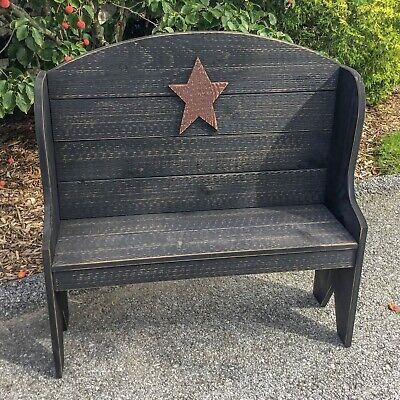 Primitive Rustic Country Style Deacon's Bench - Amish Made - 9 Colors