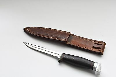 "Case Xx Vintage Small Hunting Knife With Leather Handle And Sheath 4.25"" Blade"