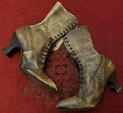 1890's Vintage Victorian Witch Boots for Theme Halloween Victorian Fall Decor