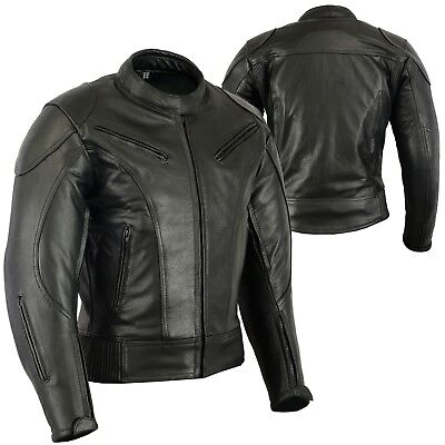 Mens Motorcycle 360 Razor Cowhide Leather Street Rider Jacket CE ARMOUR YKK ZIP