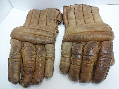 Vintage Brown Ice Hockey Gloves Real Leather DR Senior 1930's