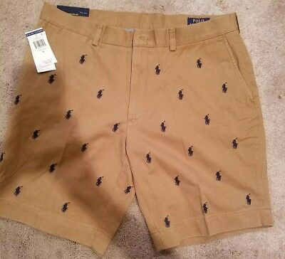 NWT Polo Ralph Lauren 'Classic Fit' Shorts Tan with navy blue Ponys Mens 34