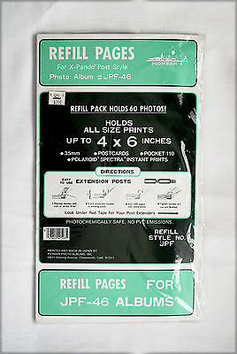 Refill Page Pack for Pioneer X-Pando Post Style JPF-46 Albums, 60 Photos, NOS NR