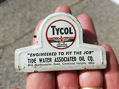 Vintage Tycol Flying A Gas & Oil Metal Advertising Clip Paper Holder