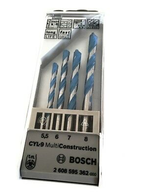 Bosch Multi Construction Drill Bit Set 4Pce 5.5, 6, 7 & 8mm Drills Bits DIY