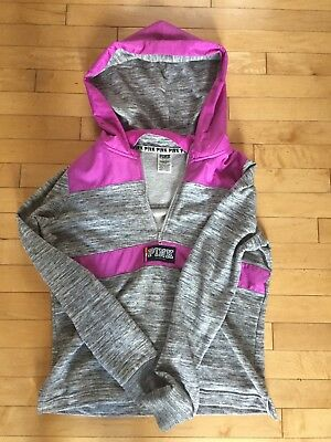 Victorias Secret PINK Womens Size Small Half Zip Hooded Long Sleeve