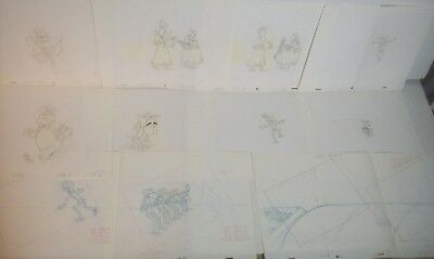 'LUCKY LUKE' Animation Art collection 1980's LOT of 11 rare production drawings