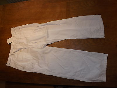 New Ex-M&S Ladies White 100% Cotton Cargo Trousers Size 10 Short (£12.50)
