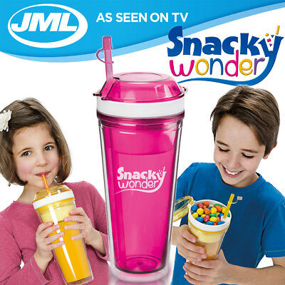 JML Snacky Wonder 2-in-1 Snack and Drink Cup, Pink