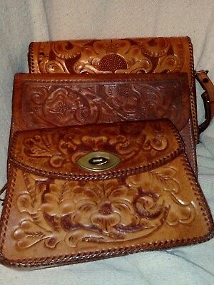 Lot of 3 tooled leather purses