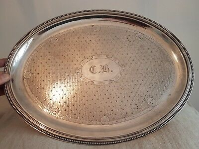 Large French Silver Plated Oval Tray - Gombault