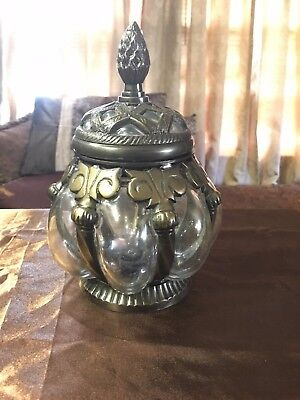 Ornate  Encased Bubble Glass And Brass Toned Metal Lidded Canister/Jar