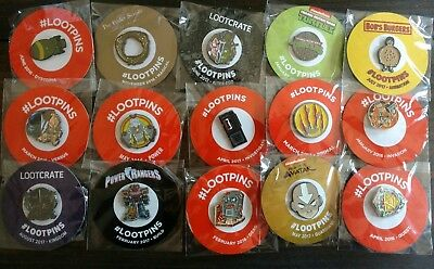 Lot of 15 Loot Crate Pins - includes Power Rangers, Bob's Burgers, Teenage Mutan