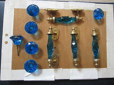 10 Pcs (Set Of 4 Pulls & 6 Knobs)-Brass & Blue Glass  Door Pulls