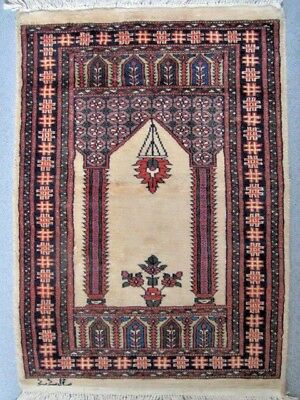 Vintage Middle Eastern Wool Hand Woven Prayer Rug Signed