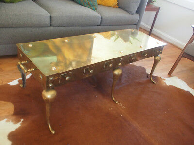 "Solid Brass Coffee Table Mid Century (Hollywood Regency) 48""x16""x16"""