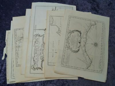 Africa Areas Collection Of 8 Original Copper Engraving Maps ~ 1750 Ad #b598