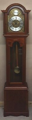 "British Mahogany Case Enamelled Face 3 Weight Driven Grandfather Clock  GWO 73""H"