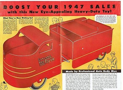 1947 Garland Red Flyer Dump Truck & Joy-Rider 2-Page Color Ad!