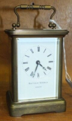 "Matthew Norman Brass Case Enamelled Face Timepiece Carriage Clock 5.5"" H"