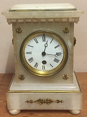 "Edwardian White Soapstone Case Winding Movement Timepiece Mantle Clock GWO 9.5""H"