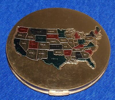 1950's Vintage Gold Majestic Compact U.S. Map